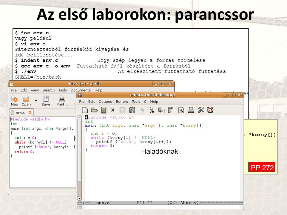 Az első laborokon: parancssor $ joe env.c vagy például $ vi env.c Páternoszterből forráskód kivágása és ide beillesztése...