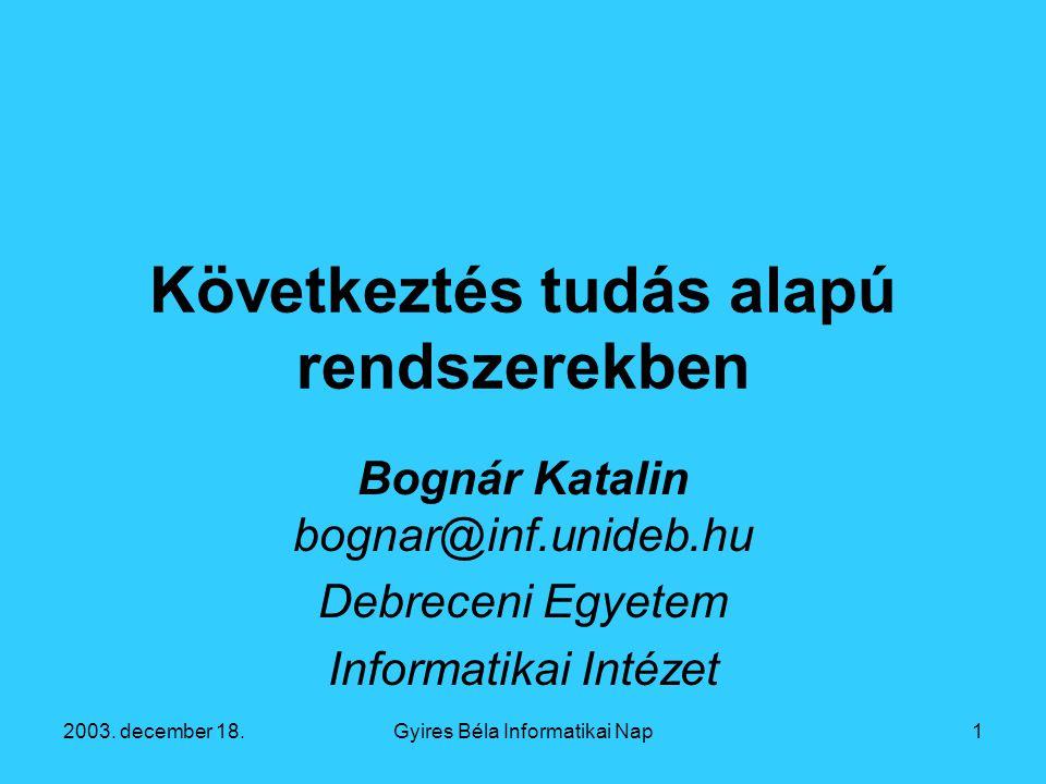 2003. december 18.Gyires Béla Informatikai Nap12 Az eset alapú következtetés életciklusa