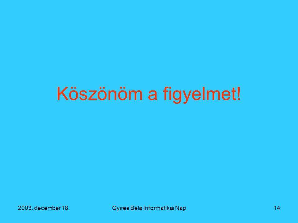 2003. december 18.Gyires Béla Informatikai Nap14 Köszönöm a figyelmet!