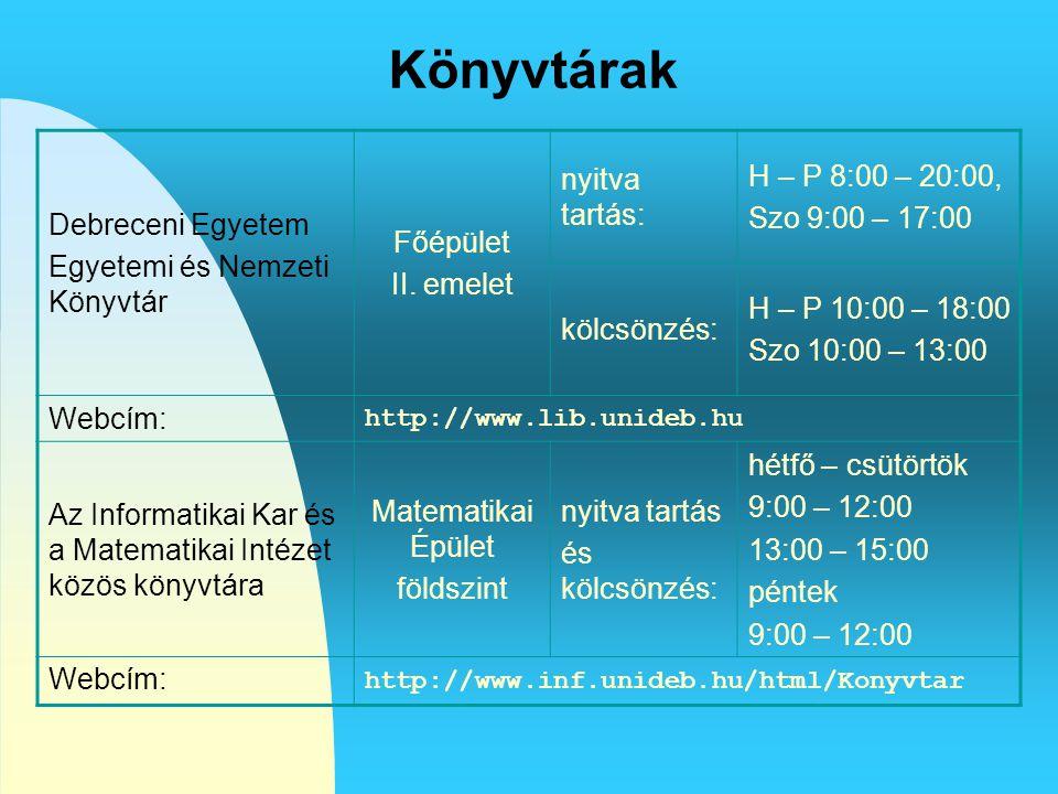 Könyvtárak Debreceni Egyetem Egyetemi és Nemzeti Könyvtár Főépület II. emelet nyitva tartás: H – P 8:00 – 20:00, Szo 9:00 – 17:00 kölcsönzés: H – P 10
