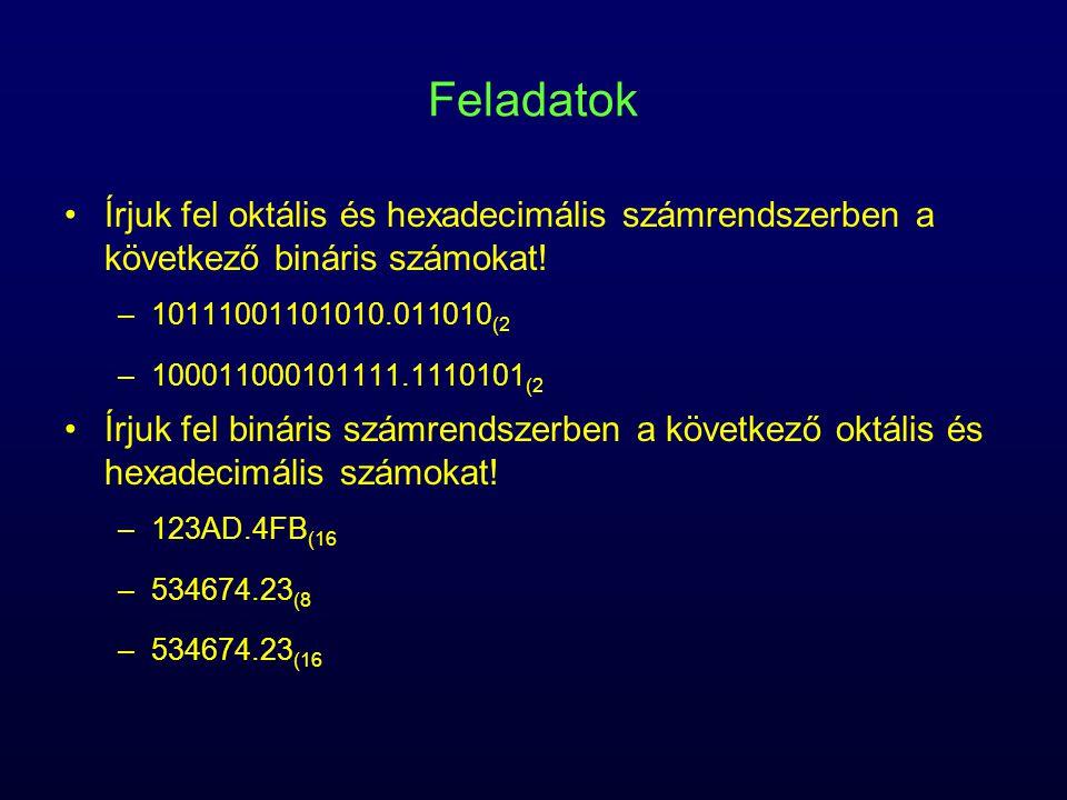 Feladatok Írjuk fel oktális és hexadecimális számrendszerben a következő bináris számokat! –10111001101010.011010 (2 –100011000101111.1110101 (2 Írjuk