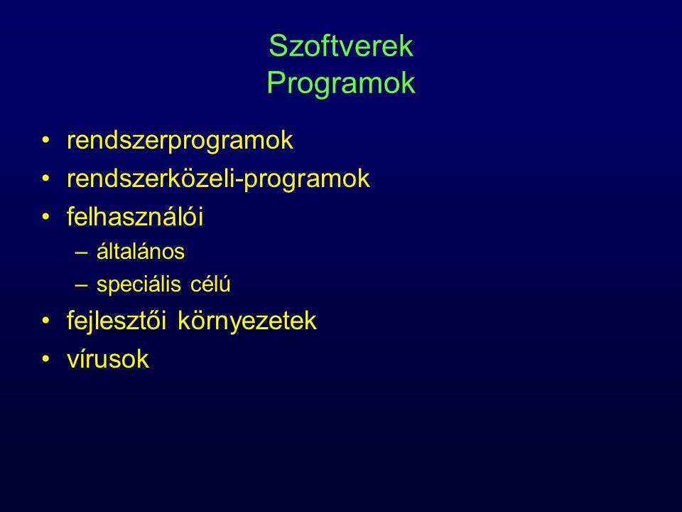 Szoftverek Programok rendszerprogramok rendszerközeli-programok felhasználói –általános –speciális célú fejlesztői környezetek vírusok