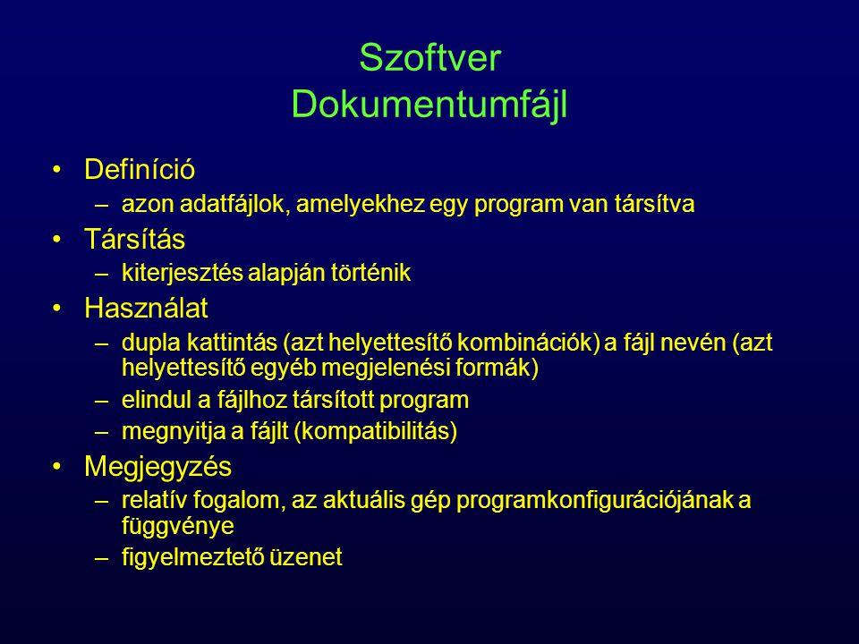 Szoftver Dokumentumfájl Definíció –azon adatfájlok, amelyekhez egy program van társítva Társítás –kiterjesztés alapján történik Használat –dupla katti