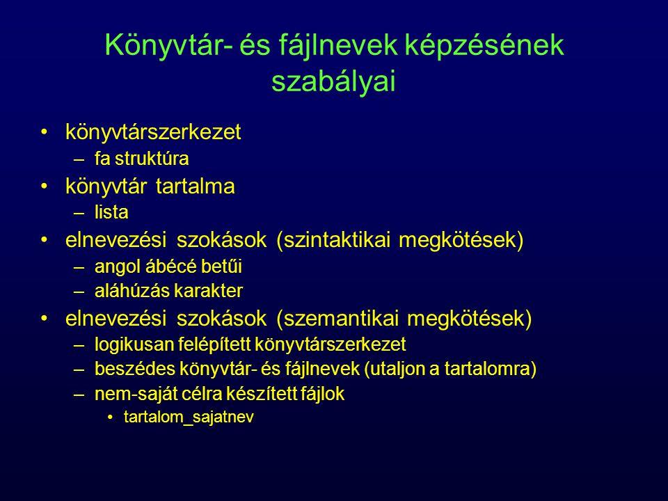 Könyvtár- és fájlnevek képzésének szabályai könyvtárszerkezet –fa struktúra könyvtár tartalma –lista elnevezési szokások (szintaktikai megkötések) –an