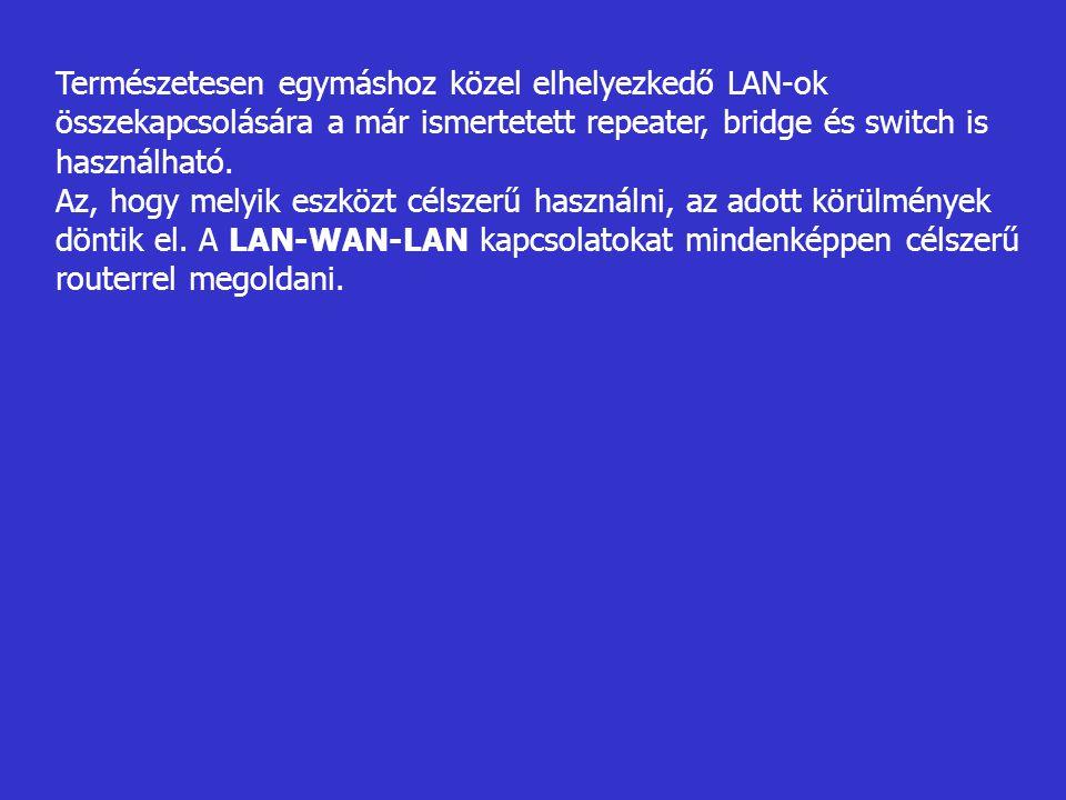 Természetesen egymáshoz közel elhelyezkedő LAN-ok összekapcsolására a már ismertetett repeater, bridge és switch is használható. Az, hogy melyik eszkö