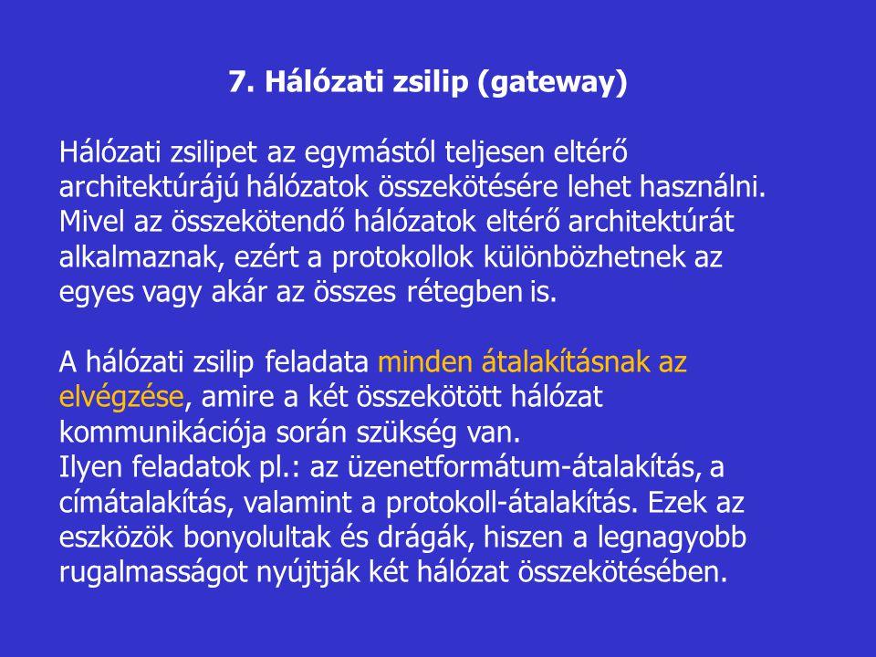 7. Hálózati zsilip (gateway) Hálózati zsilipet az egymástól teljesen eltérő architektúrájú hálózatok összekötésére lehet használni. Mivel az összeköte