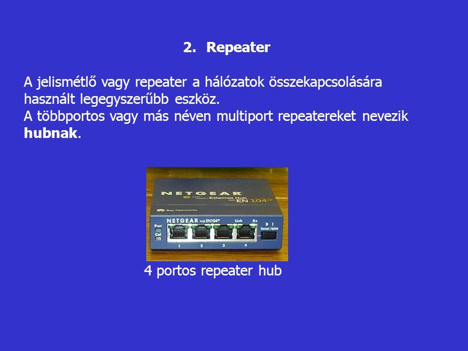 2.Repeater A jelismétlő vagy repeater a hálózatok összekapcsolására használt legegyszerűbb eszköz. A többportos vagy más néven multiport repeatereket