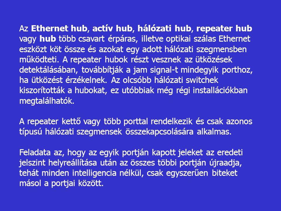 Az Ethernet hub, actív hub, hálózati hub, repeater hub vagy hub több csavart érpáras, illetve optikai szálas Ethernet eszközt köt össze és azokat egy