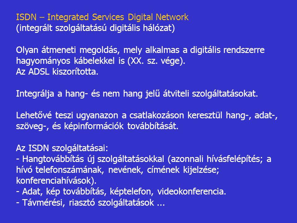 ISDN – Integrated Services Digital Network (integrált szolgáltatású digitális hálózat) Olyan átmeneti megoldás, mely alkalmas a digitális rendszerre h