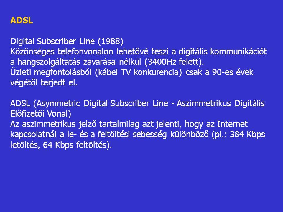 ADSL Digital Subscriber Line (1988) Közönséges telefonvonalon lehetővé teszi a digitális kommunikációt a hangszolgáltatás zavarása nélkül (3400Hz fele