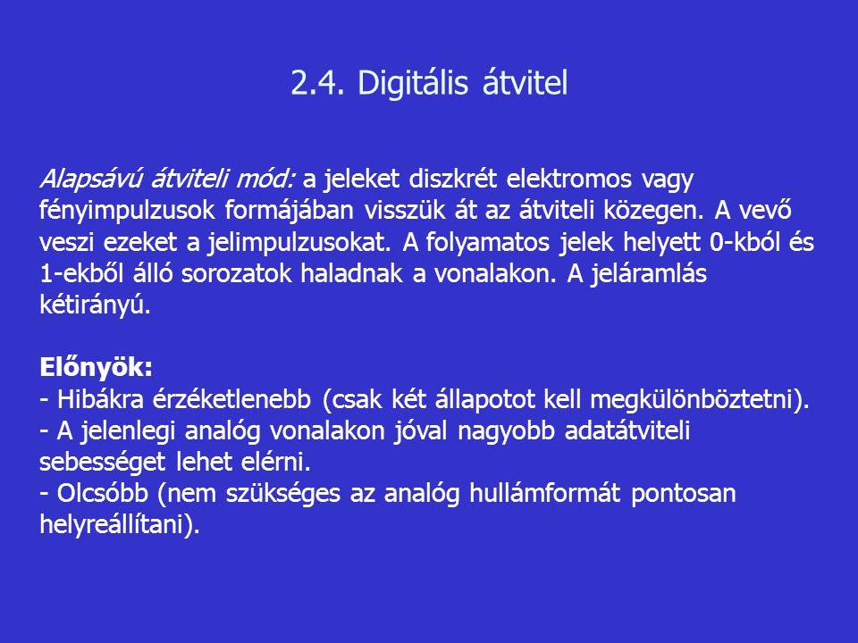 2.4. Digitális átvitel Alapsávú átviteli mód: a jeleket diszkrét elektromos vagy fényimpulzusok formájában visszük át az átviteli közegen. A vevő vesz