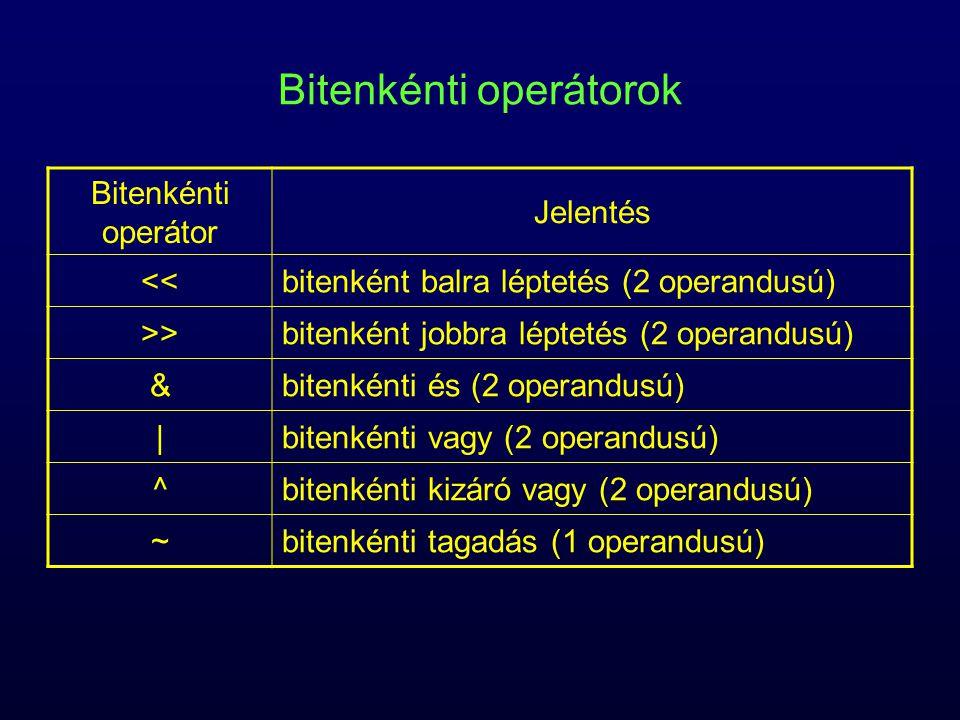 Bitenkénti operátorok Bitenkénti operátor Jelentés <<bitenként balra léptetés (2 operandusú) >>bitenként jobbra léptetés (2 operandusú) &bitenkénti és