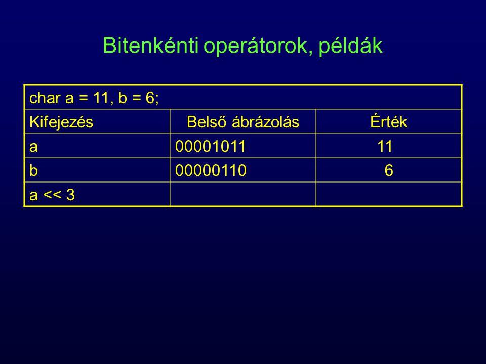 Bitenkénti operátorok, példák char a = 11, b = 6; KifejezésBelső ábrázolásÉrték a0000101111 b000001106 a << 3