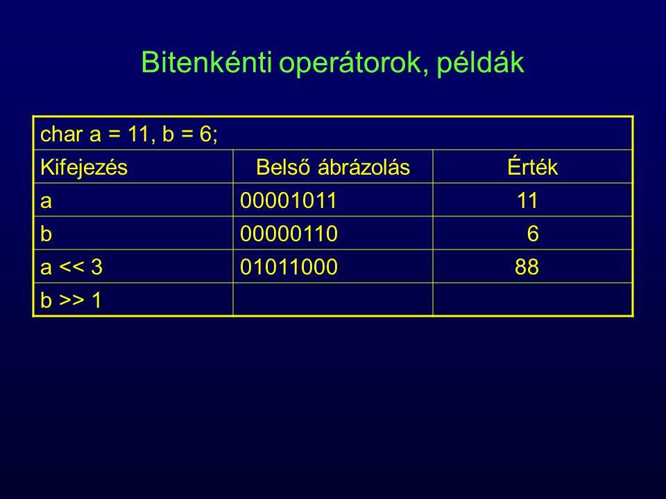 Bitenkénti operátorok, példák char a = 11, b = 6; KifejezésBelső ábrázolásÉrték a0000101111 b000001106 a << 30101100088 b >> 1
