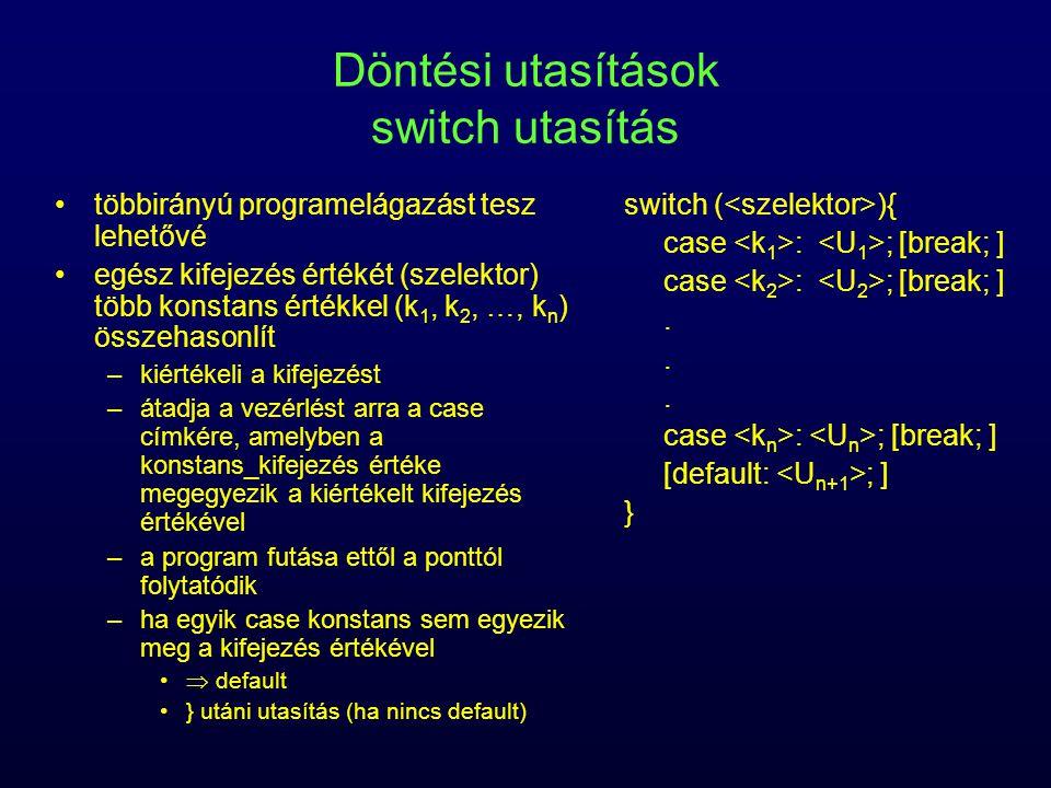 Döntési utasítások switch utasítás többirányú programelágazást tesz lehetővé egész kifejezés értékét (szelektor) több konstans értékkel (k 1, k 2, …,