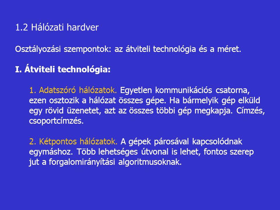 1.2 Hálózati hardver Osztályozási szempontok: az átviteli technológia és a méret. I. Átviteli technológia: 1. Adatszóró hálózatok. Egyetlen kommunikác