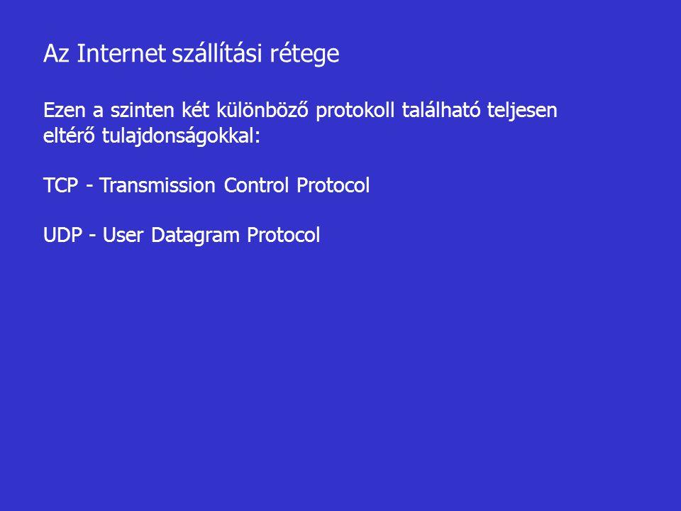 Az Internet szállítási rétege Ezen a szinten két különböző protokoll található teljesen eltérő tulajdonságokkal: TCP - Transmission Control Protocol U