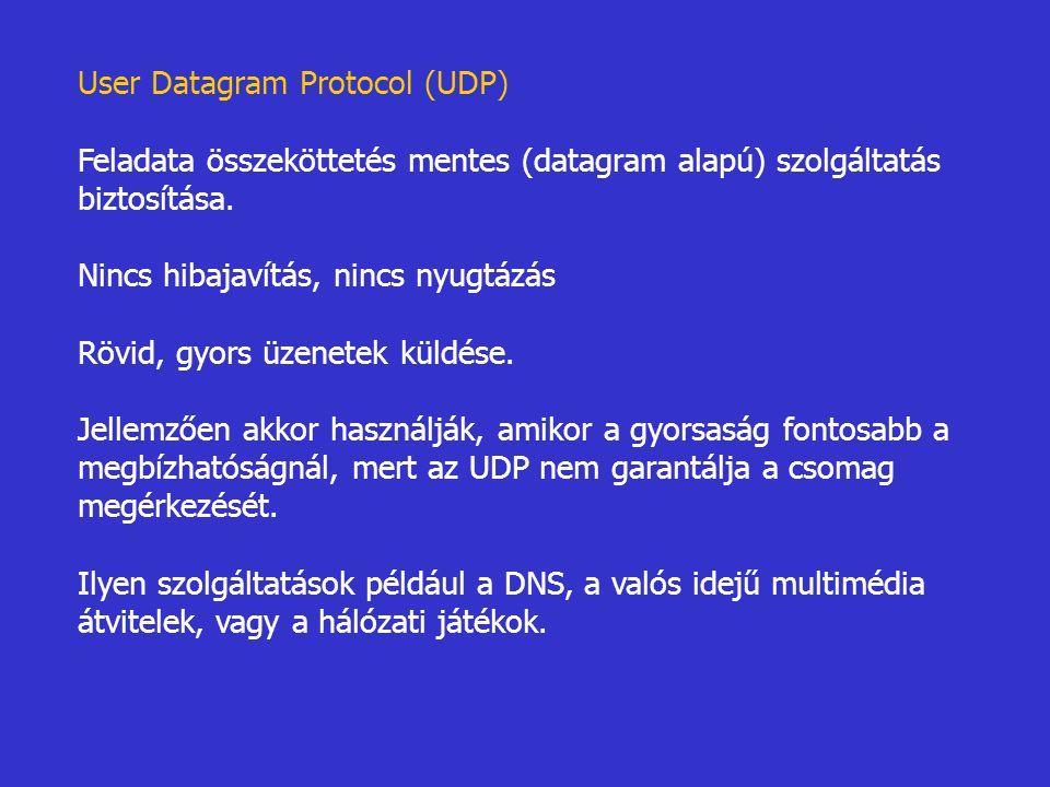 User Datagram Protocol (UDP) Feladata összeköttetés mentes (datagram alapú) szolgáltatás biztosítása. Nincs hibajavítás, nincs nyugtázás Rövid, gyors