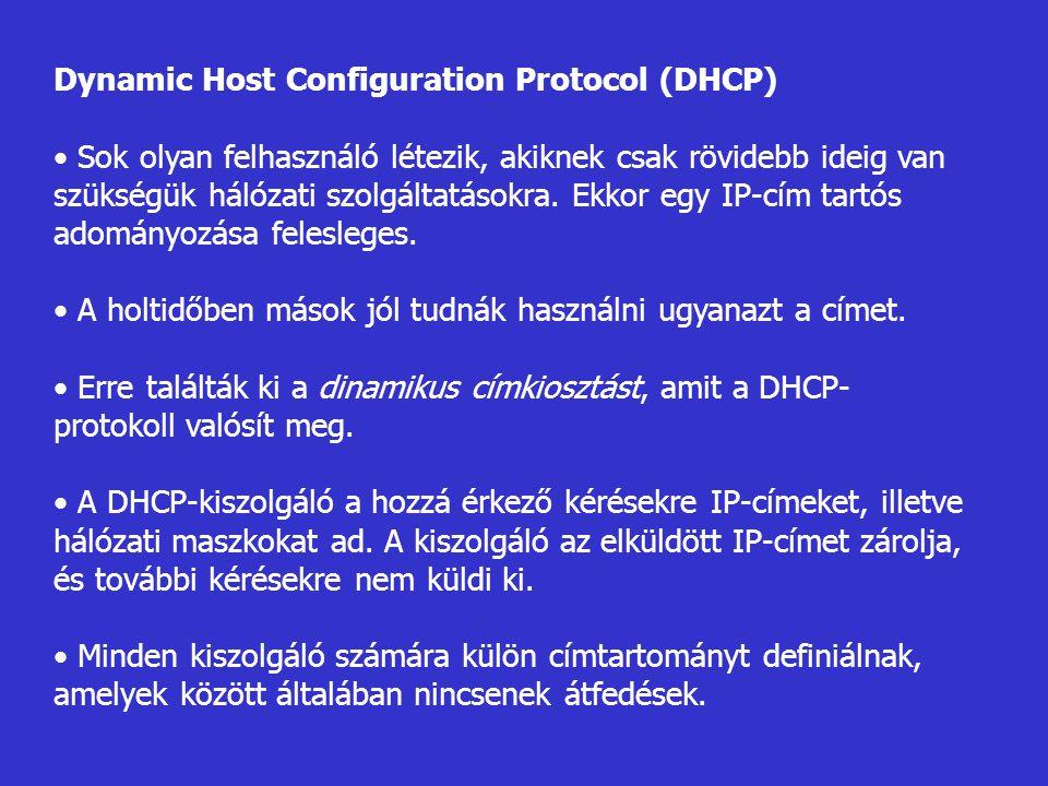 Dynamic Host Configuration Protocol (DHCP) Sok olyan felhasználó létezik, akiknek csak rövidebb ideig van szükségük hálózati szolgáltatásokra. Ekkor e