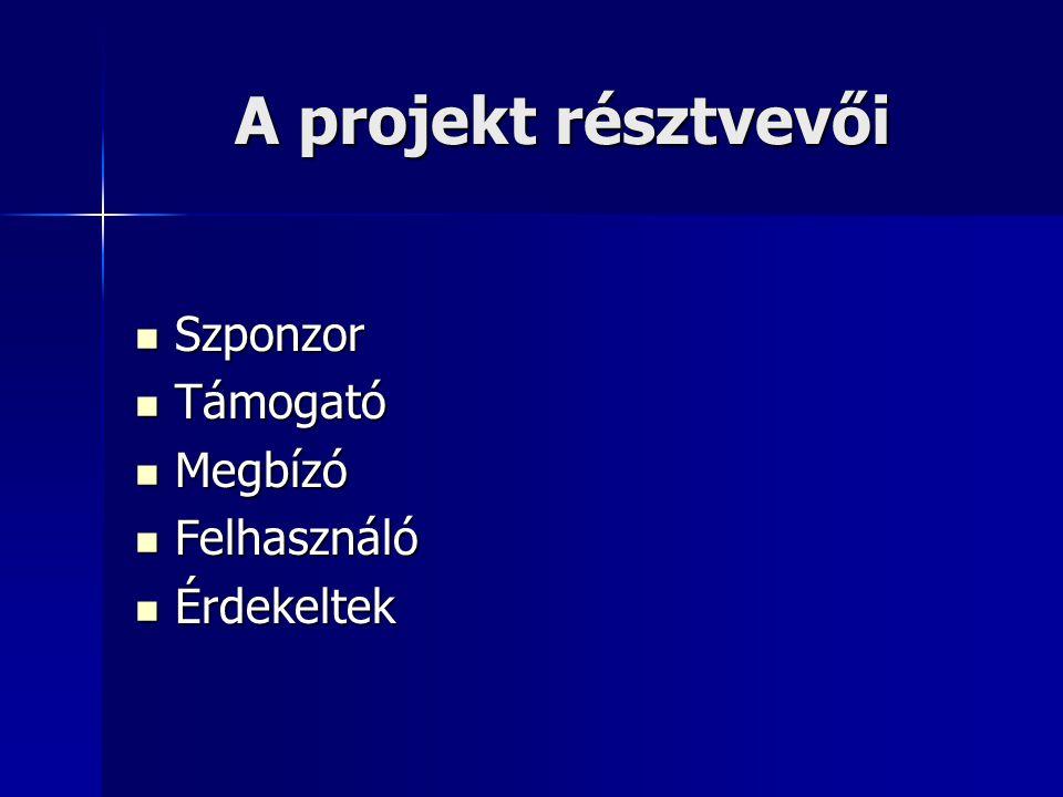 A projekt résztvevői Szponzor Szponzor Támogató Támogató Megbízó Megbízó Felhasználó Felhasználó Érdekeltek Érdekeltek