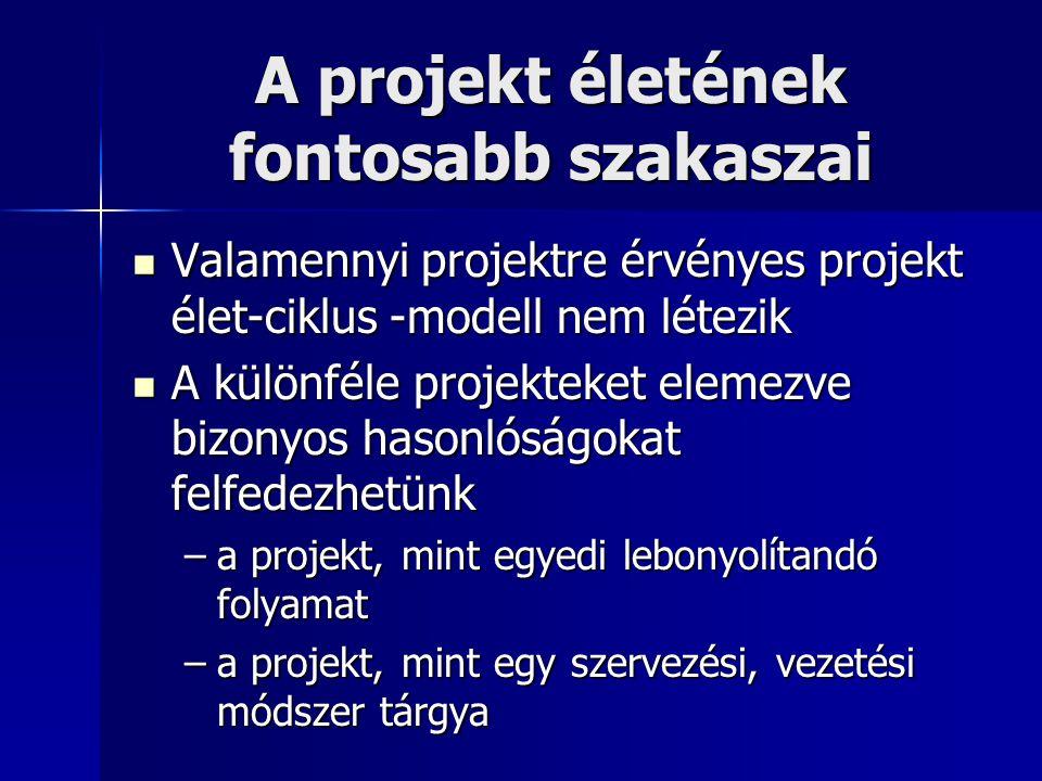 A projekt életének fontosabb szakaszai Valamennyi projektre érvényes projekt élet-ciklus -modell nem létezik Valamennyi projektre érvényes projekt éle