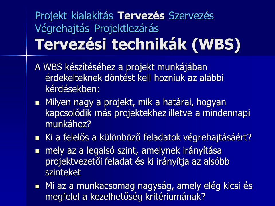 Projekt kialakítás Tervezés Szervezés Végrehajtás Projektlezárás Tervezési technikák (WBS) A WBS készítéséhez a projekt munkájában érdekelteknek dönté