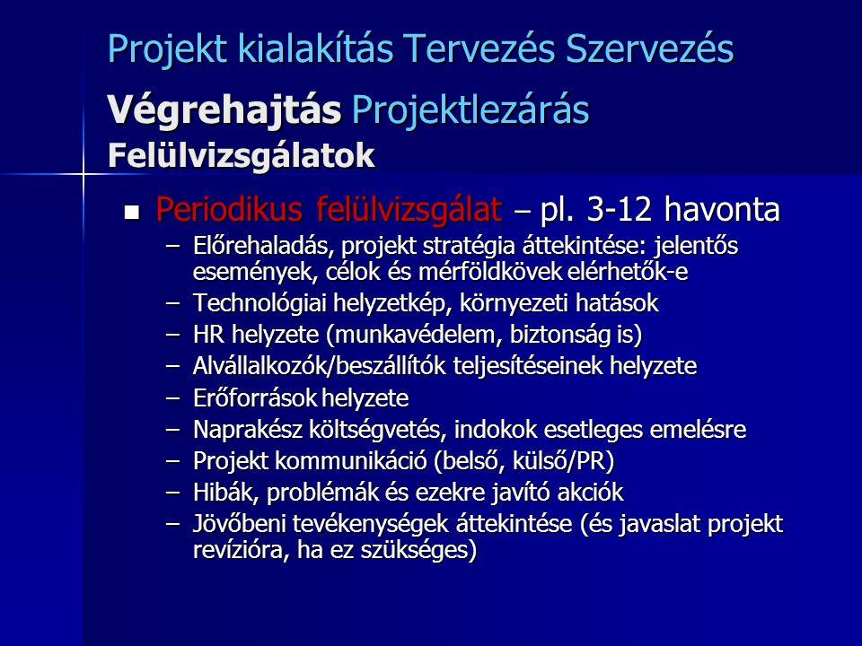 Projekt kialakítás Tervezés Szervezés Végrehajtás Projektlezárás Felülvizsgálatok Periodikus felülvizsgálat – pl. 3-12 havonta Periodikus felülvizsgál