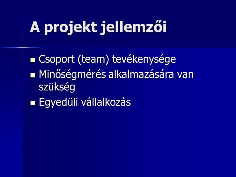 A projekt jellemzői Csoport (team) tevékenysége Csoport (team) tevékenysége Minőségmérés alkalmazására van szükség Minőségmérés alkalmazására van szük