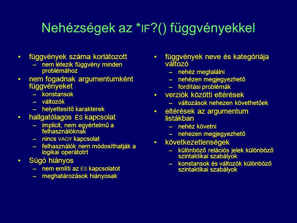 Nehézségek az * IF ?() függvényekkel függvények száma korlátozott –nem létezik függvény minden problémához nem fogadnak argumentumként függvényeket –k