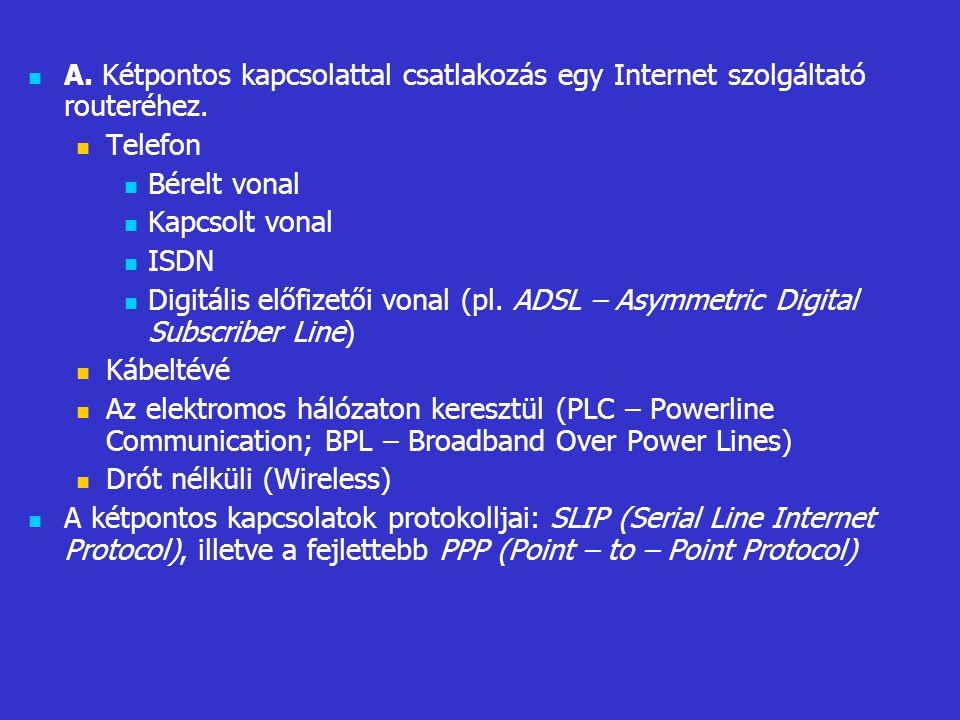 A. Kétpontos kapcsolattal csatlakozás egy Internet szolgáltató routeréhez. Telefon Bérelt vonal Kapcsolt vonal ISDN Digitális előfizetői vonal (pl. AD