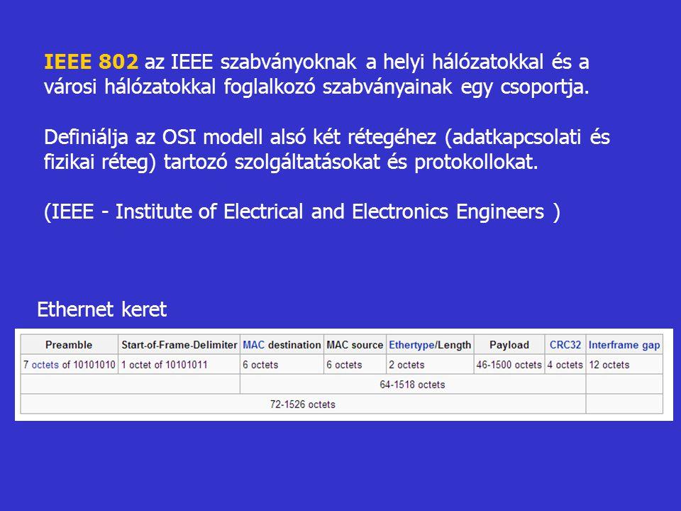 IEEE 802 az IEEE szabványoknak a helyi hálózatokkal és a városi hálózatokkal foglalkozó szabványainak egy csoportja. Definiálja az OSI modell alsó két