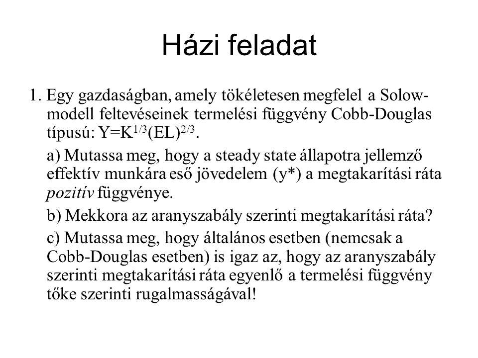 Házi feladat 1. Egy gazdaságban, amely tökéletesen megfelel a Solow- modell feltevéseinek termelési függvény Cobb-Douglas típusú: Y=K 1/3 (EL) 2/3. a)