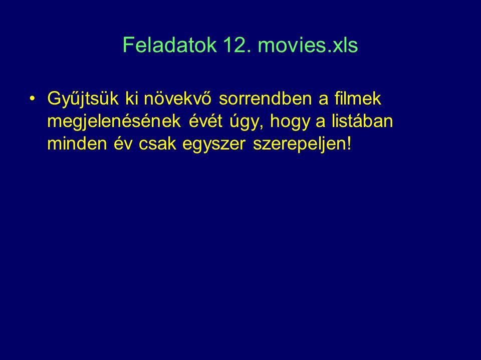 Feladatok 12. movies.xls Gyűjtsük ki növekvő sorrendben a filmek megjelenésének évét úgy, hogy a listában minden év csak egyszer szerepeljen!