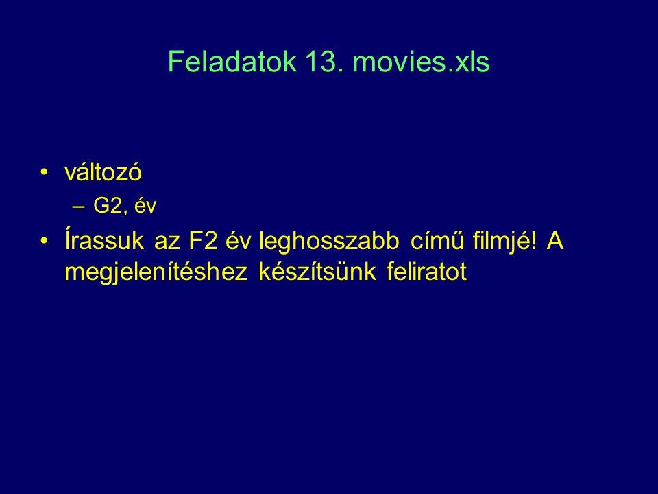 Feladatok 13. movies.xls változó –G2, év Írassuk az F2 év leghosszabb című filmjé! A megjelenítéshez készítsünk feliratot