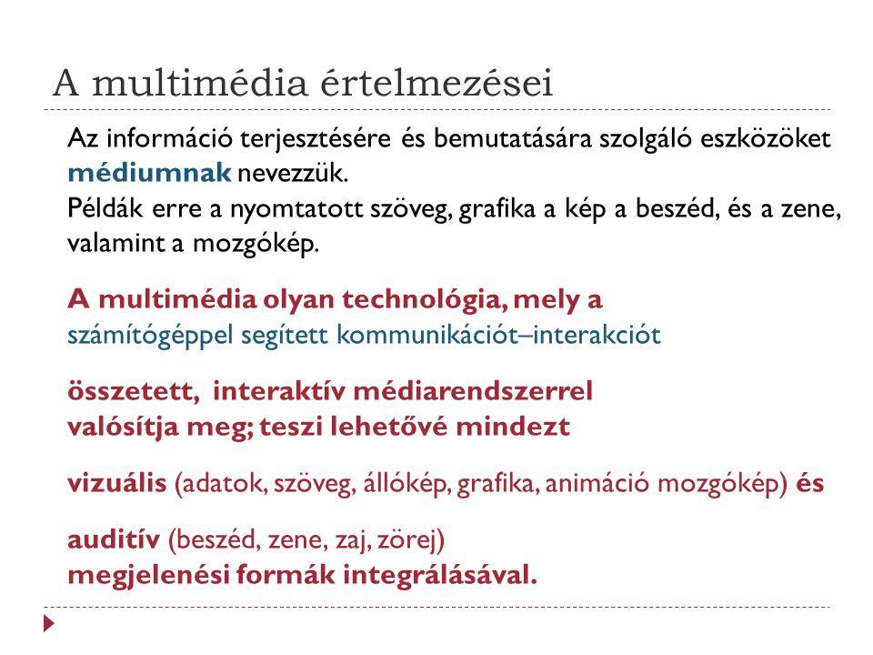 A multimédia értelmezései Az információ terjesztésére és bemutatására szolgáló eszközöket médiumnak nevezzük.