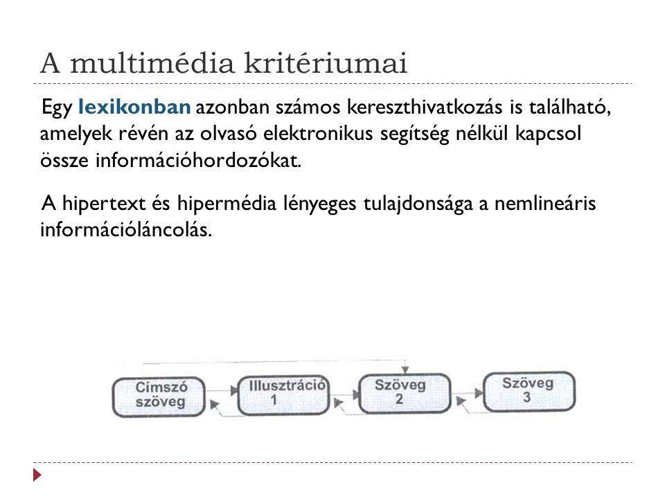A multimédia kritériumai Egy lexikonban azonban számos kereszthivatkozás is található, amelyek révén az olvasó elektronikus segítség nélkül kapcsol össze információhordozókat.