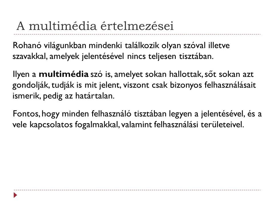 A médiumtípusok csoportosítása 8.Bemutatási értékek: a különböző média információképviseletét határozzák meg: míg egy szöveg mint médium, vizuálisan betűk sorozatát állítja elő, addig a beszéd, mint médium akusztikus nyomáshullámként jeleníti meg ugyanazt.