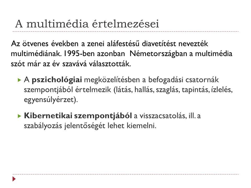 A multimédia értelmezései  Kommunikáció elméleti szempontból a közlési oldalról (verbális, nem-verbális, média közlés) vizsgálják a folyamatot.