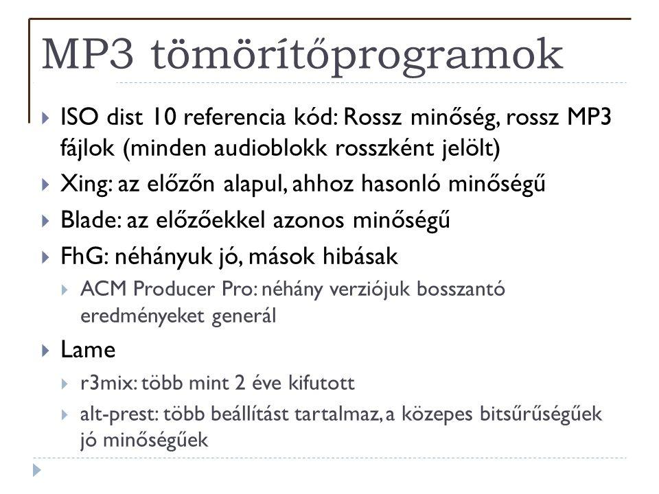 MP3 tömörítőprogramok  ISO dist 10 referencia kód: Rossz minőség, rossz MP3 fájlok (minden audioblokk rosszként jelölt)  Xing: az előzőn alapul, ahh