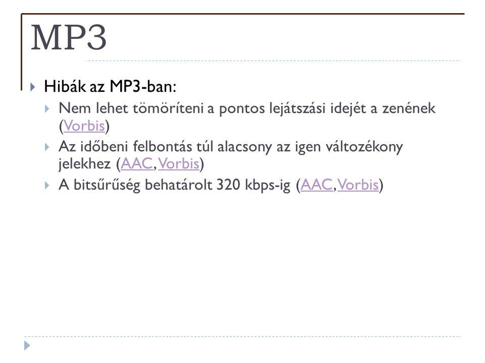 MP3  Hibák az MP3-ban:  Nem lehet tömöríteni a pontos lejátszási idejét a zenének (Vorbis)Vorbis  Az időbeni felbontás túl alacsony az igen változé