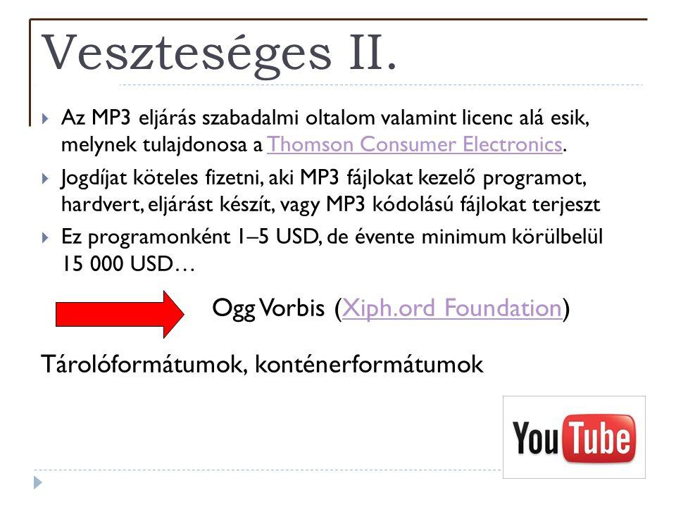 Veszteséges II.  Az MP3 eljárás szabadalmi oltalom valamint licenc alá esik, melynek tulajdonosa a Thomson Consumer Electronics.Thomson Consumer Elec