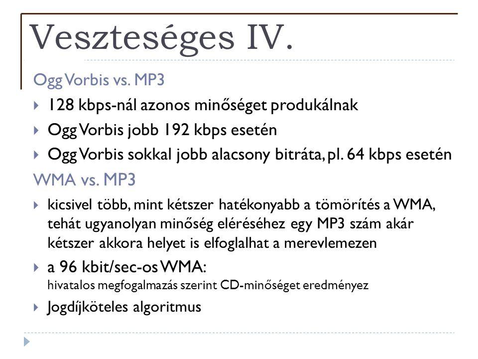 Veszteséges IV. Ogg Vorbis vs. MP3  128 kbps-nál azonos minőséget produkálnak  Ogg Vorbis jobb 192 kbps esetén  Ogg Vorbis sokkal jobb alacsony bit