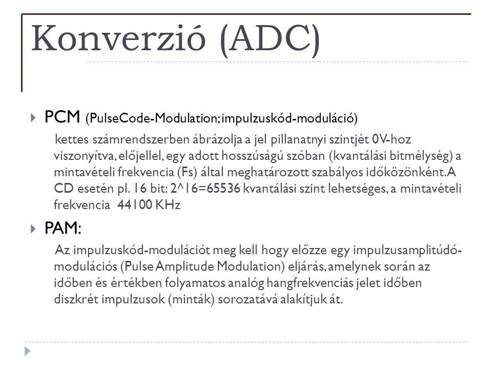 Konverzió (ADC)  PCM (PulseCode-Modulation; impulzuskód-moduláció) kettes számrendszerben ábrázolja a jel pillanatnyi szintjét 0V-hoz viszonyítva, el