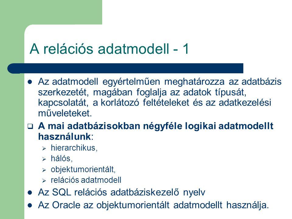 A relációs adatmodell - 1 Az adatmodell egyértelműen meghatározza az adatbázis szerkezetét, magában foglalja az adatok típusát, kapcsolatát, a korláto