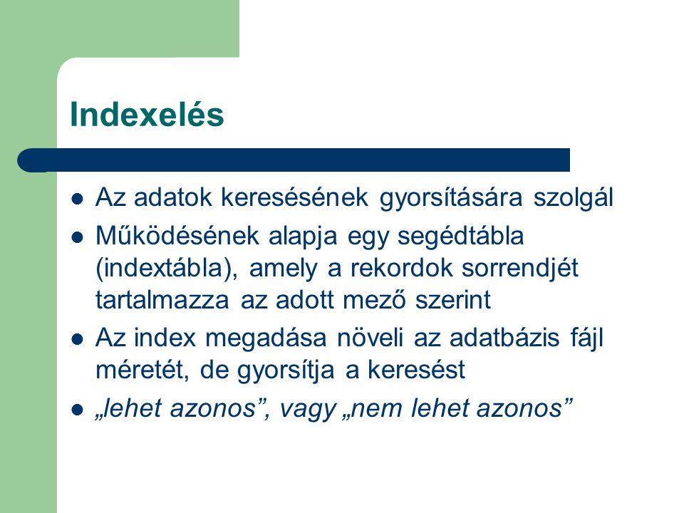 Indexelés Az adatok keresésének gyorsítására szolgál Működésének alapja egy segédtábla (indextábla), amely a rekordok sorrendjét tartalmazza az adott