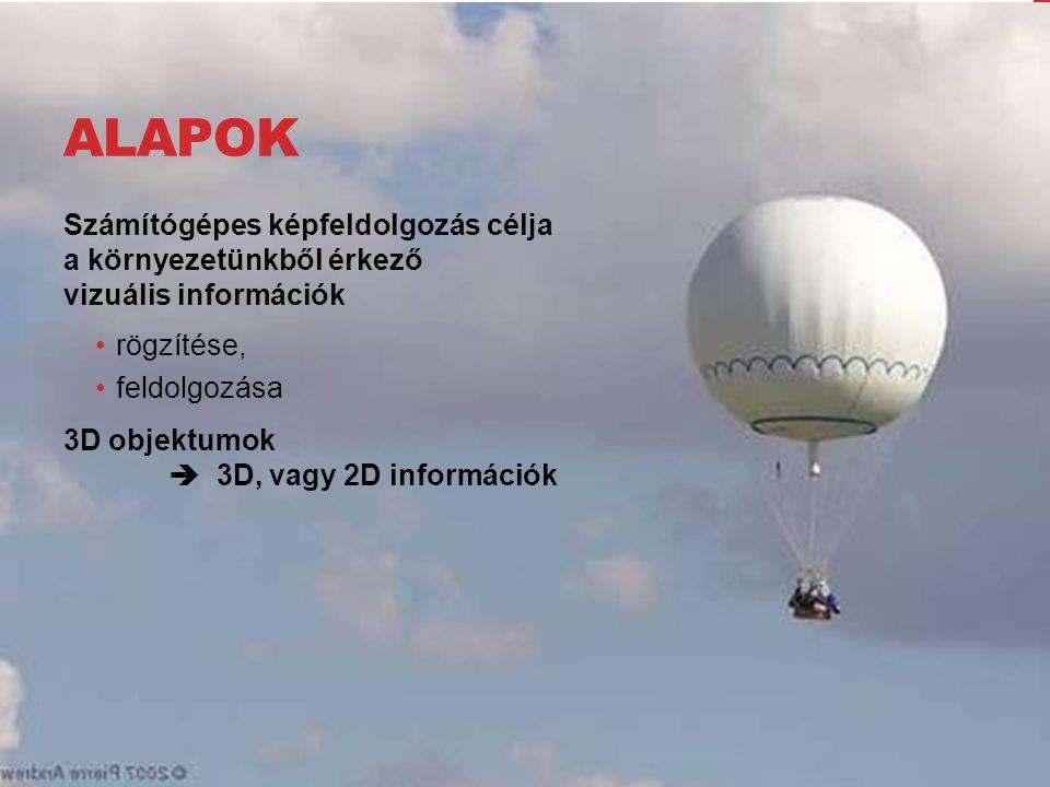 ALAPOK Számítógépes képfeldolgozás célja a környezetünkből érkező vizuális információk rögzítése, feldolgozása 3D objektumok  3D, vagy 2D információk