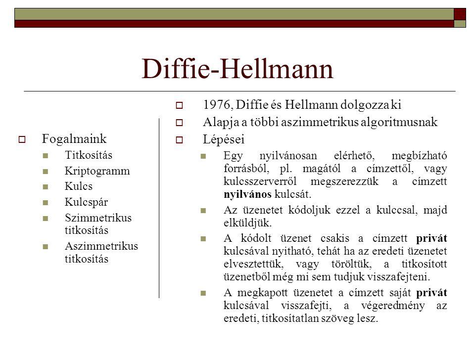 Diffie-Hellmann  1976, Diffie és Hellmann dolgozza ki  Alapja a többi aszimmetrikus algoritmusnak  Lépései Egy nyilvánosan elérhető, megbízható forrásból, pl.