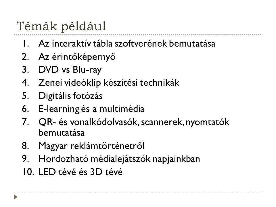 Témák például 1.Az interaktív tábla szoftverének bemutatása 2.Az érintőképernyő 3.DVD vs Blu-ray 4.Zenei videóklip készítési technikák 5.Digitális fotózás 6.E-learning és a multimédia 7.QR- és vonalkódolvasók, scannerek, nyomtatók bemutatása 8.Magyar reklámtörténetről 9.Hordozható médialejátszók napjainkban 10.LED tévé és 3D tévé