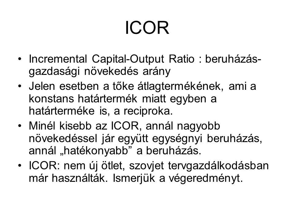 ICOR Incremental Capital-Output Ratio : beruházás- gazdasági növekedés arány Jelen esetben a tőke átlagtermékének, ami a konstans határtermék miatt eg
