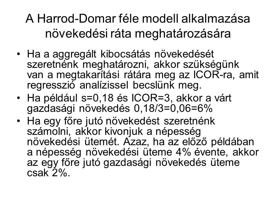 A Harrod-Domar féle modell alkalmazása növekedési ráta meghatározására Ha a aggregált kibocsátás növekedését szeretnénk meghatározni, akkor szükségünk van a megtakarítási rátára meg az ICOR-ra, amit regresszió analízissel becslünk meg.